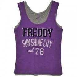 Freddy - Camiseta sin mangas bicolor con estampado