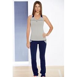 Naffta Active - Conjunto Camiseta Tirantes + Pantalón Ajustado - Turquesa / Marrón