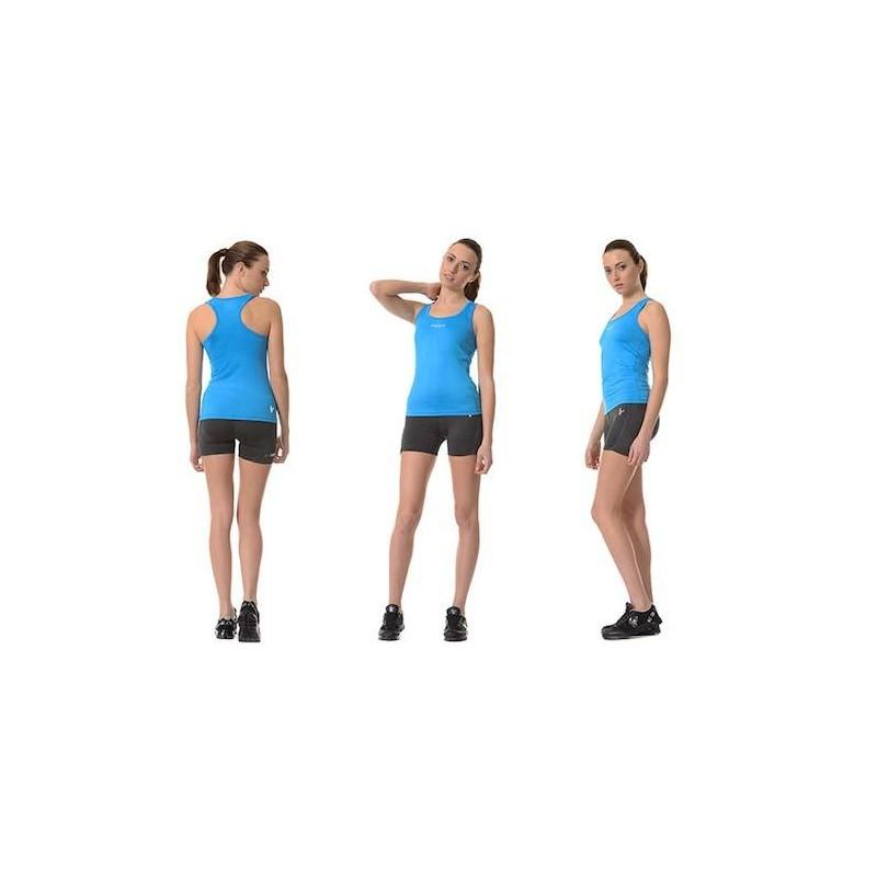 Conjunto FREDDY WR.UP: Camiseta Tirantes + Short Azul/Gris Oscuro EFECTO PUSH UP