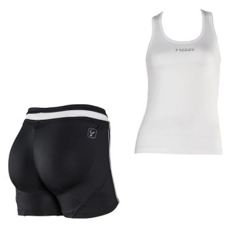 Conjunto FREDDY WR.UP: Camiseta Tirantes + Short Blanco/Negro con EFECTO PUSH UP