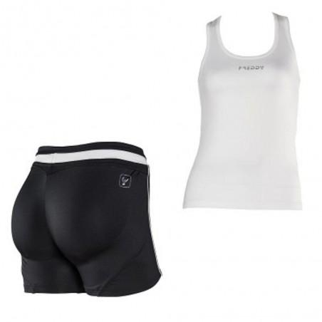 Conjunto FREDDY WR.UP: Camiseta Tirantes + Short Blanco/Negro con EFECTO PUSH UP