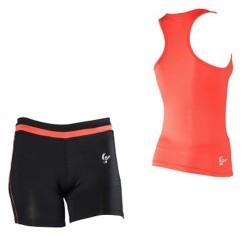 Conjunto FREDDY WR.UP: Camiseta Tirantes + Short Rojo/Negro con EFECTO PUSH UP
