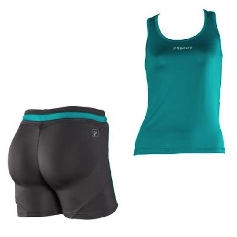 Conjunto FREDDY WR.UP: Camiseta Tirantes + Short Verde/Gris Oscuro con EFECTO PUSH UP
