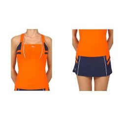 Naffta Padel - Conjunto Camiseta Tirantes + Falda Short - Naranja / Azul Marino