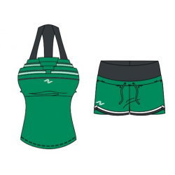 Naffta Active - Conjunto Camiseta Tirantes + Short - Gris Ceniza / Verde Hierba