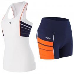 Naffta Active - Conjunto Camiseta Tirantes + Short - Blanco / Azul Oscuro / Naranja