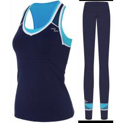 Naffta Active - Conjunto Camiseta Tirantes + Pantalón Pitillo - Marino / Turquesa