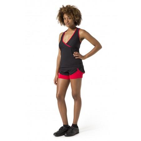 Naffta Active - Conjunto Camiseta Tirantes + Short - Negro/Rojo