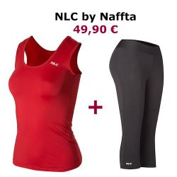 CONJUNTO NLC by NAFFTA: Camiseta Roja + Pantalón Pirata Negro