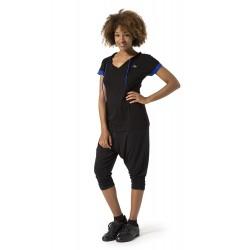 Naffta Yoga - Conjunto Camiseta Manga Corta Negro/Azul Fluor + Pirata - Negro/Gris Ceniza